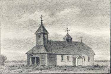 N.K. Roerich. 'The church in Gryzovo', drawing, 1890-s