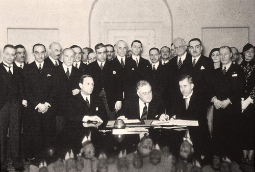 The signing of the Roerich Pact.