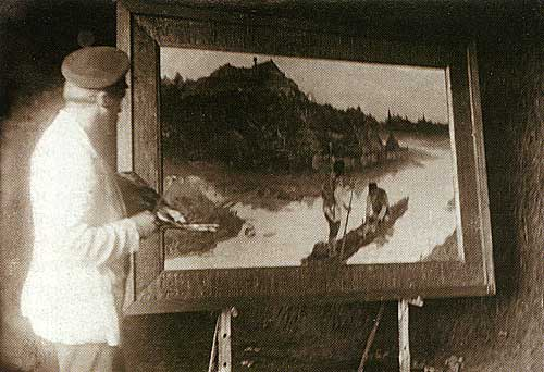 N.K. Roerich whilst painting 'The Messenger'.