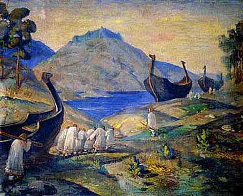 N.K. Roerich. 'They haul them along'. 1915